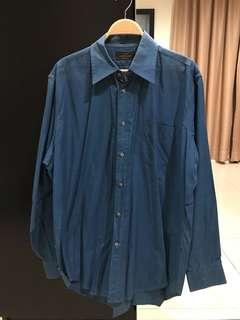 Homme Leonard Paris Blue Shirt (Size 16.5/42)