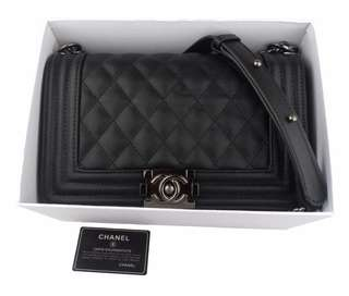 Chanel Boy Caviar Include BOX with Black Nickel Hardware