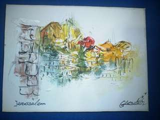 Offer! Unused Jerusalem limestone painting. Got it in Israel. Dimensions: 20cm x 15cm. Text for quick deal!