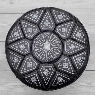 Moroccan Leather Footstool, Ottoman, Pouffe, Pouf - Black Onyx.