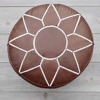 Moroccan Leather Footstool, Ottoman, Pouffe, Pouf - Rustic Brown.