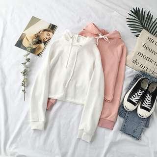 Pink/white crop top hoodie