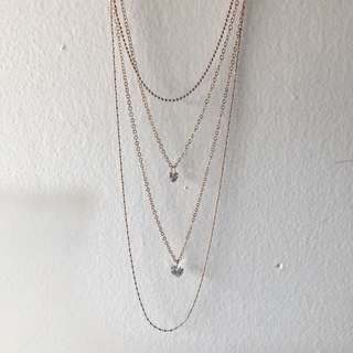 Gold Necklace with Diamond Heart Pendant