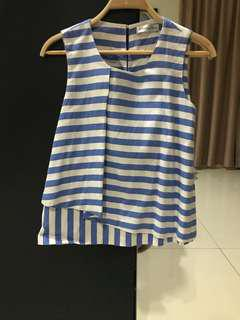 White & Blue Striped Sleeveless Top (Size S)