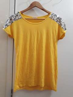 Yellow Sequin-Mesh Sleeved Top