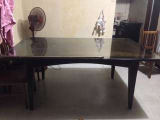 Dining Table with Tempered Glass