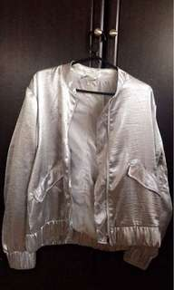 [H&M] Silver Bomber Jacket