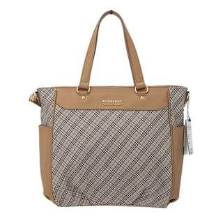 finalsale 香港少有 全新 購自日本 burberry blue label 啡色細格仔 上膊大 手 袋 handbag 連紙袋