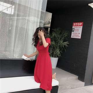 Stylish Midi Dress Red 12286 WZO*ready stock*