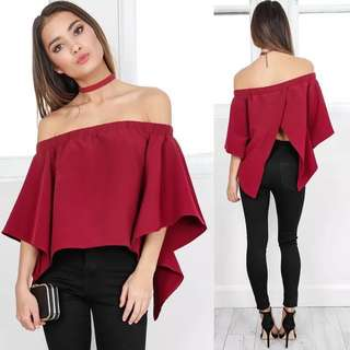 Offshoulder slit blouse