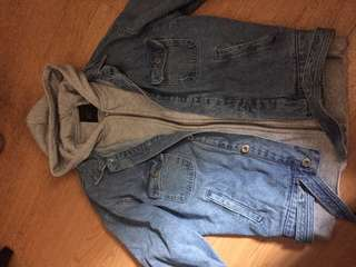 Zara men denim jacket with hoodie