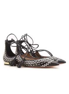 Aquazzura Christy Folk Black and White Embroidered Tassel Lace Up Leather Flats