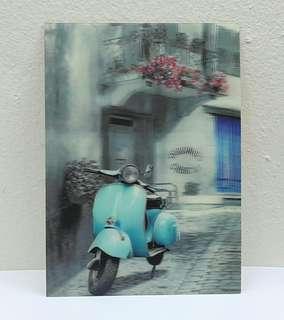 Vintage 3d Lenticular Postcard - Motorbike