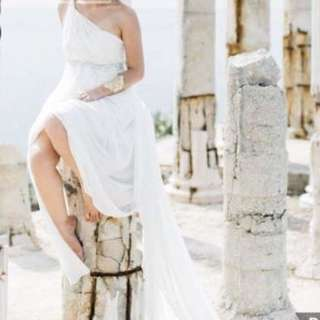 Prenup White Gown with Trail