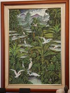 Large Framed Oil Painting - mythical forest series