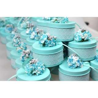 Flower Lace Decorated Candy Favor Tin (Tiffany Blue)