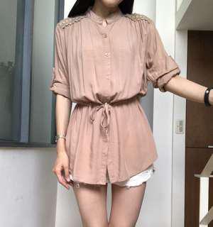 韓版 膚色涼感絲棉反折袖襯衫