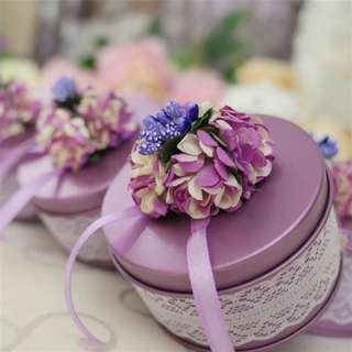 Flower Lace Decorated Candy Favor Tin (Purple)