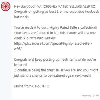 Thank you Carousell 😊😊🎉🎉 Please check out my listing. 😊😊