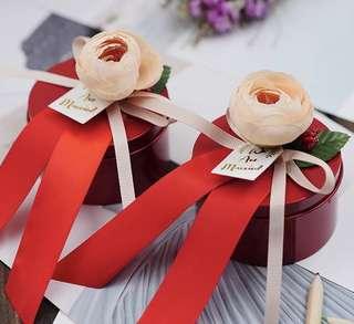 Rose Bud Premium Tin Wedding Favor (Red)