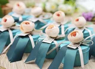 Rose Bud Premium Tin Wedding Favor (Blue)