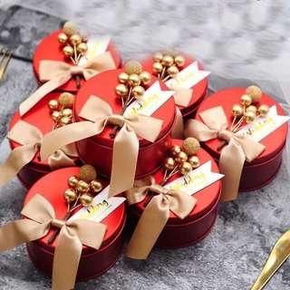 Royal Red Premium Tin Wedding Favor (Champagne Ribbon)
