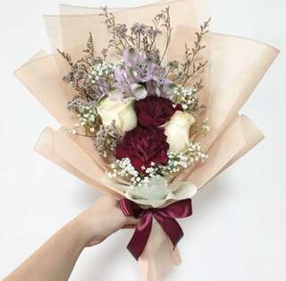 Premium dutch carnations with Peach Roses and Baby Breath / Birthday Bouquet