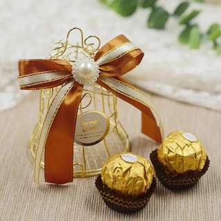 Gold Premium Cage Bell Wedding Favor