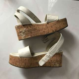 H&m white wood platform shoes size 38
