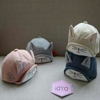 3D Embroidery Cute Kitten Baby Kids Cap Sun Hat