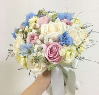 Wedding Bouquet / Bridal Bouquet in Blue Delphinium, White Roses, matthiola and mix fillers / Blue white wedding