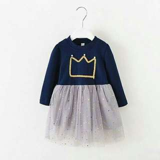 KOREA STYLIST CROWN LONG SLEEVES PRINCESS DRESS