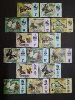 Malaysia 1977 Negeri Sembilan, Sabah & Selangor Butterflies Definitive Complete Three(3) Sets - 15v MNH Stamps