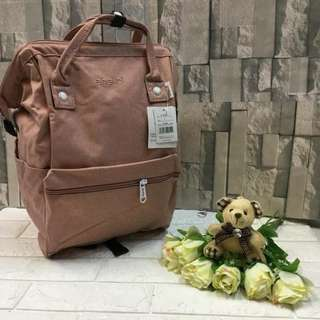 Authentic Original Anello Japan 2-Way Casual Backpack Polyester Canvas Travel Bag Unisex Backpack Rucksack Salmon Pink (LARGE)