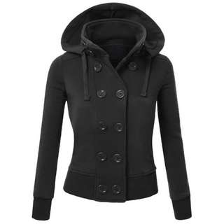 Black Buttoned Long Sleeve Hoodie SM