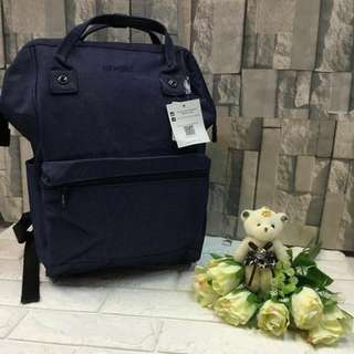 Authentic Original Anello Japan 2-Way Casual Backpack Polyester Canvas Travel Bag Unisex Backpack Rucksack Navy Blue (LARGE)