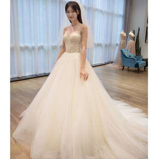 Wedding Collection - Straps Design Romantic Style Long Tail Wedding Gown