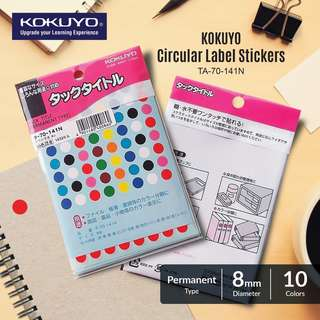 KOKUYO TA-70-141N 10-color circular label stickers diameter 8mm