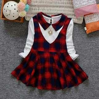 Korea Stylist Design Lattice Long-sleeves Girl Dress