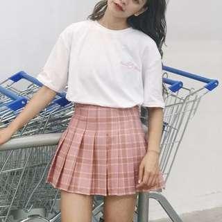 🚚 粉紅格百褶裙