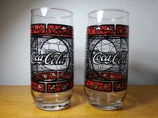 """80年代懷舊可口可樂玻璃杯 """"两隻"""" (保全良好)"""