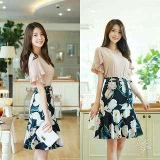 🍃Peach Ruffled Sleeve Top and Mermaid Floral Skirt Terno