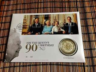 The Queen's 90th Birthday 2016 UK PNC Stamp Sheet & £5 Proof Silver Coin.