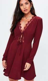 Burgundy  lace trim tea dress
