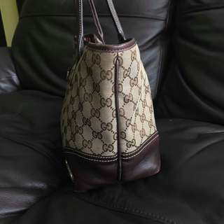 authentic gucci monogram britt in medium tote brown