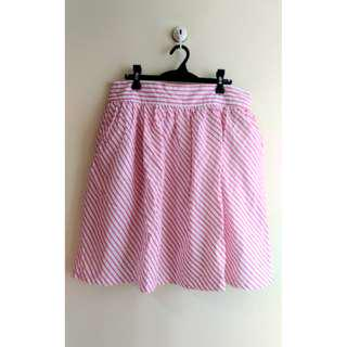 Apple & Eve Pink and White Stripes Skirt