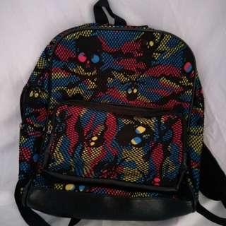 彩色骷髏網後背包