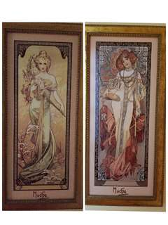 "Set of 2 Porcelain Pictures ""The Four Seasons, Alphonse Mucha"", Limited Edition"