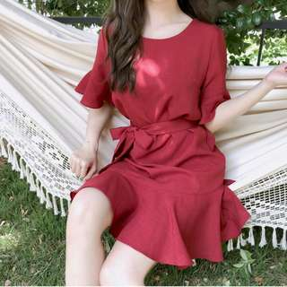 Dress Collection - Instagram Hot Design Korean Style Red Dress