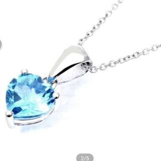 Swiss Blue Topaz Heart Necklace 瑞士海藍石心形頸鏈